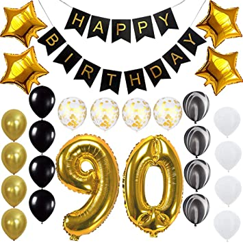 Happy 90th Birthday Banner Balloons Set For 90 Years Old Party Decoration Supplies Gold Black