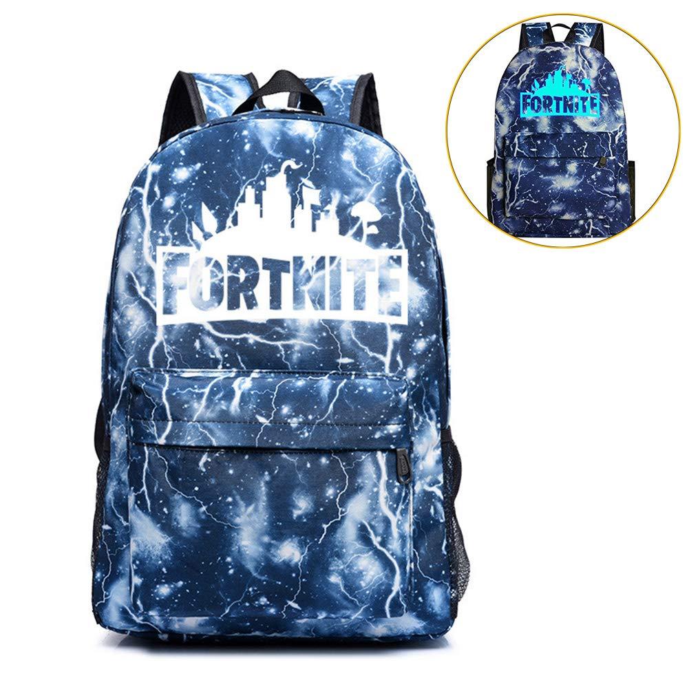 School Backpack Laptop Backpack, Fortnite Backpack Night Luminous Boys Girls Backpack for Travel, Shopping, School, Student(Lightening-Blue)