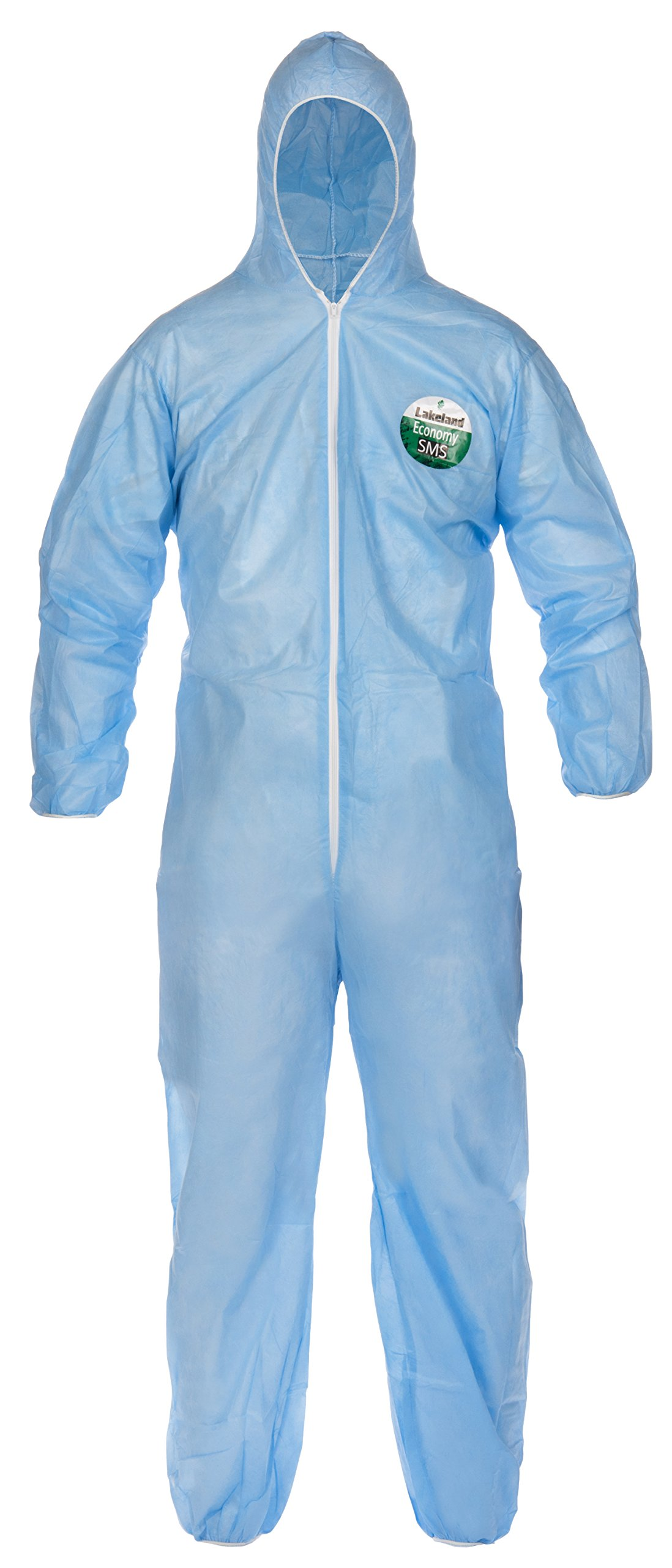 Lakeland SafeGard Economy SMS Coverall with Hood, Disposable, Elastic Cuff, 2X-Large, Blue (Case of 25)