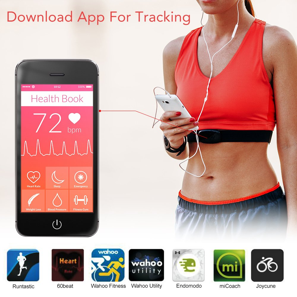 XCSOURCE SUNDING Waterproof Sport Heart Rate Monitor + Chest Strap for Smartphone iPhone 6 6s...