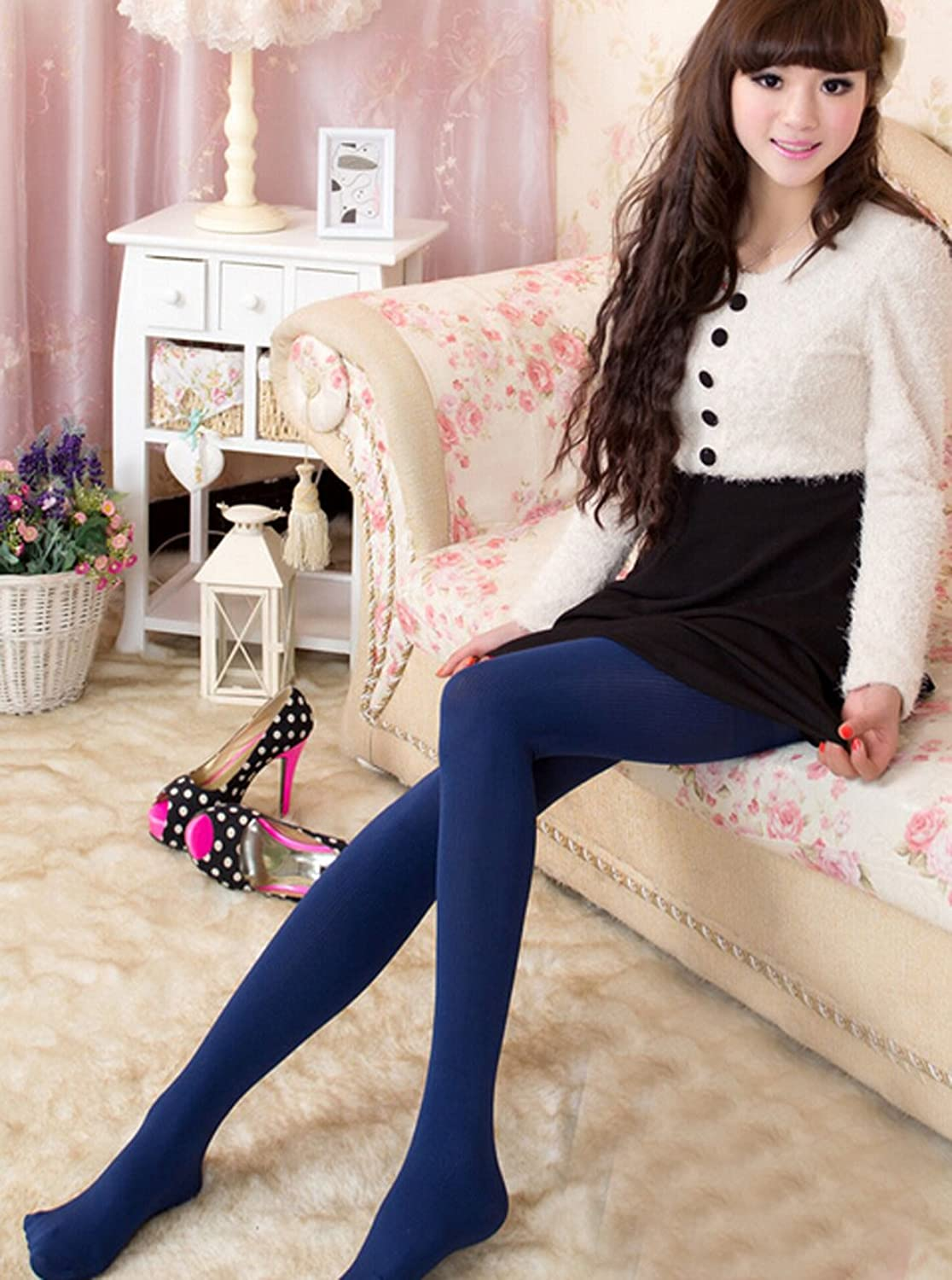 Freedi Stripes Good Elasticity Lined Control Top Slim Warm Panty Hose Stockings Leggings