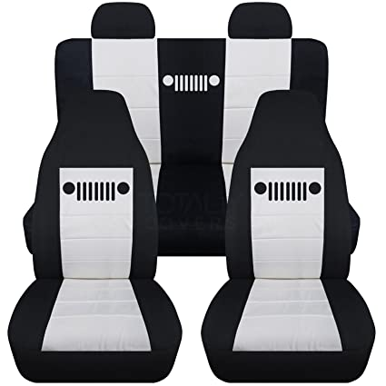 Designcovers 2002 2007 Jeep Liberty Seat Covers Molded/Adjustable Front U0026  Rear Headrests: