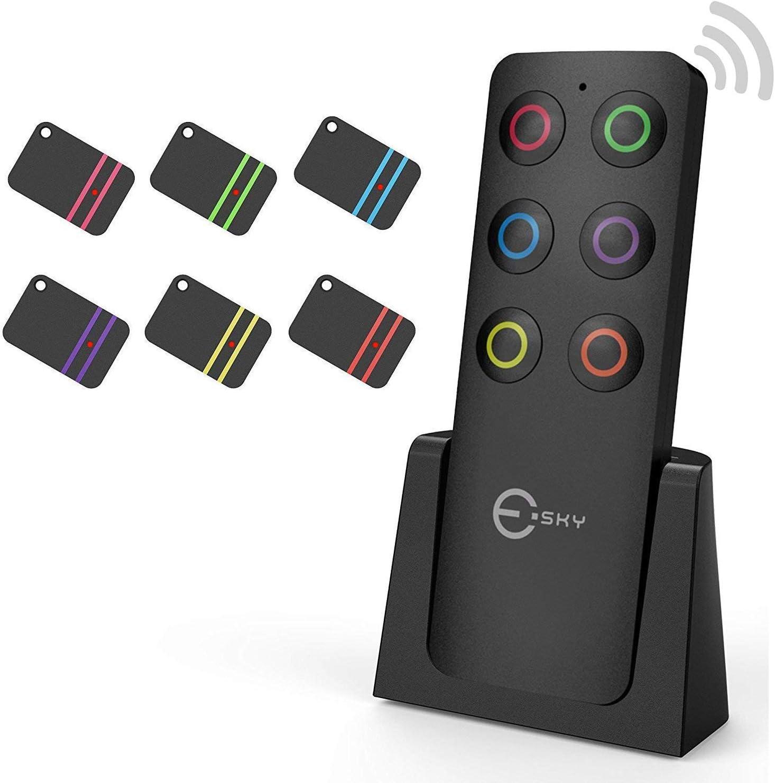 Buscador de llaves, Esky Buscador de llaves inalámbrico con 6 receptores Localizador de artículos de RF, Control remoto de soporte de seguimiento de artículos, Rastreador de mascotas y billetera
