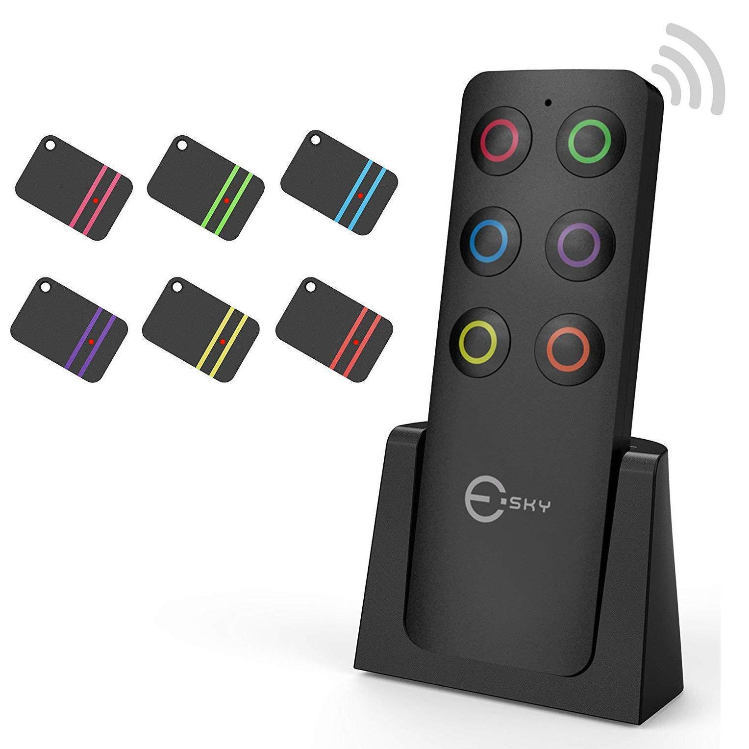 Localizzatore per Chiavi, Esky, trasmettitore Wireless con 6 ricevitori RF, localizzatore per Animali Domestici, Chiavi o Portafogli, Una buona Idea per ...