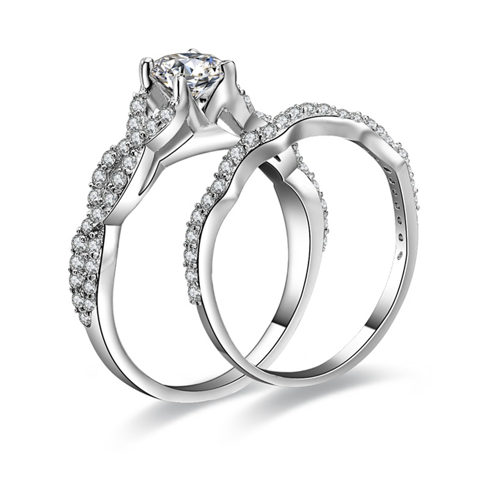 Daesar Cubic Zirconia Ring Round Solitaire 4-Prong Round Crystal Infinity Ring Set Ring Size 7.5