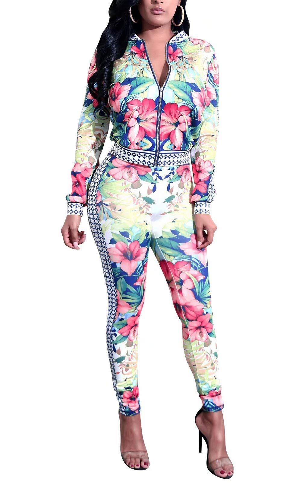 Two Pieces Outfit Crop Tops and Pant Set Joggers Floral Jacket Tracksuit White M