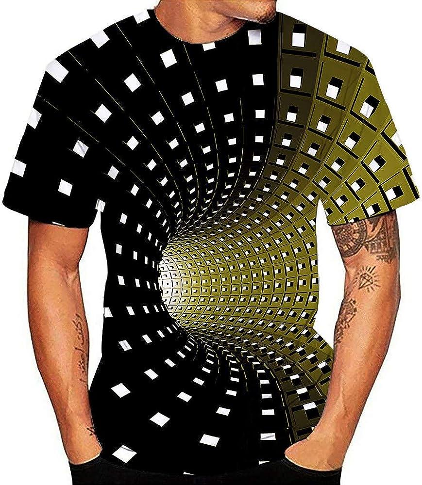 Amlaiworld Camiseta de Hombre con Estampado 3D Camiseta de Manga Corta con Cuello Redondo Moda Camiseta básica Camisa mágica Tops Blusa Hombre Tallas Grandes S- XXXL: Amazon.es: Ropa y accesorios