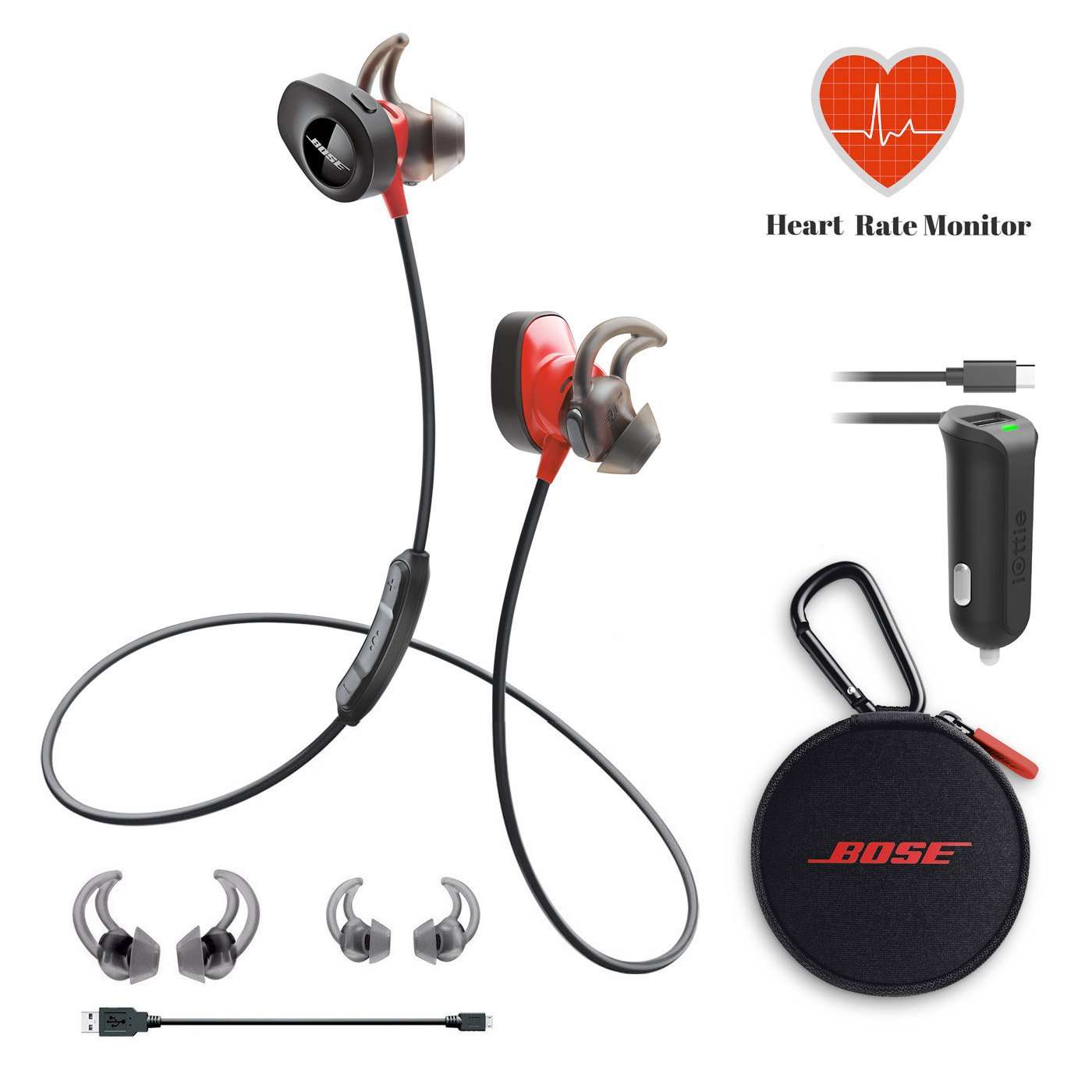 Bose SoundSport Pulse Wireless Headphones - Power Red & Car Charger - Bundle by Bose