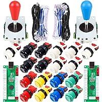 EG STARTS 2 Player Arcade Joystick DIY Parts 2X USB Encoder + 2X Ellipse Oval Joystick Hanlde + 18x American Style…