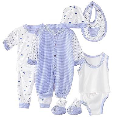 cfdcd7c1fdba 8PCS Soft Cotton Unisex Newborn Baby Infant Clothes Clothing Set Includes  Jumpsuit T-shirt Pants Vest Briefs Bib Cap Socks Blue Stripe Style:  Amazon.co.uk: ...