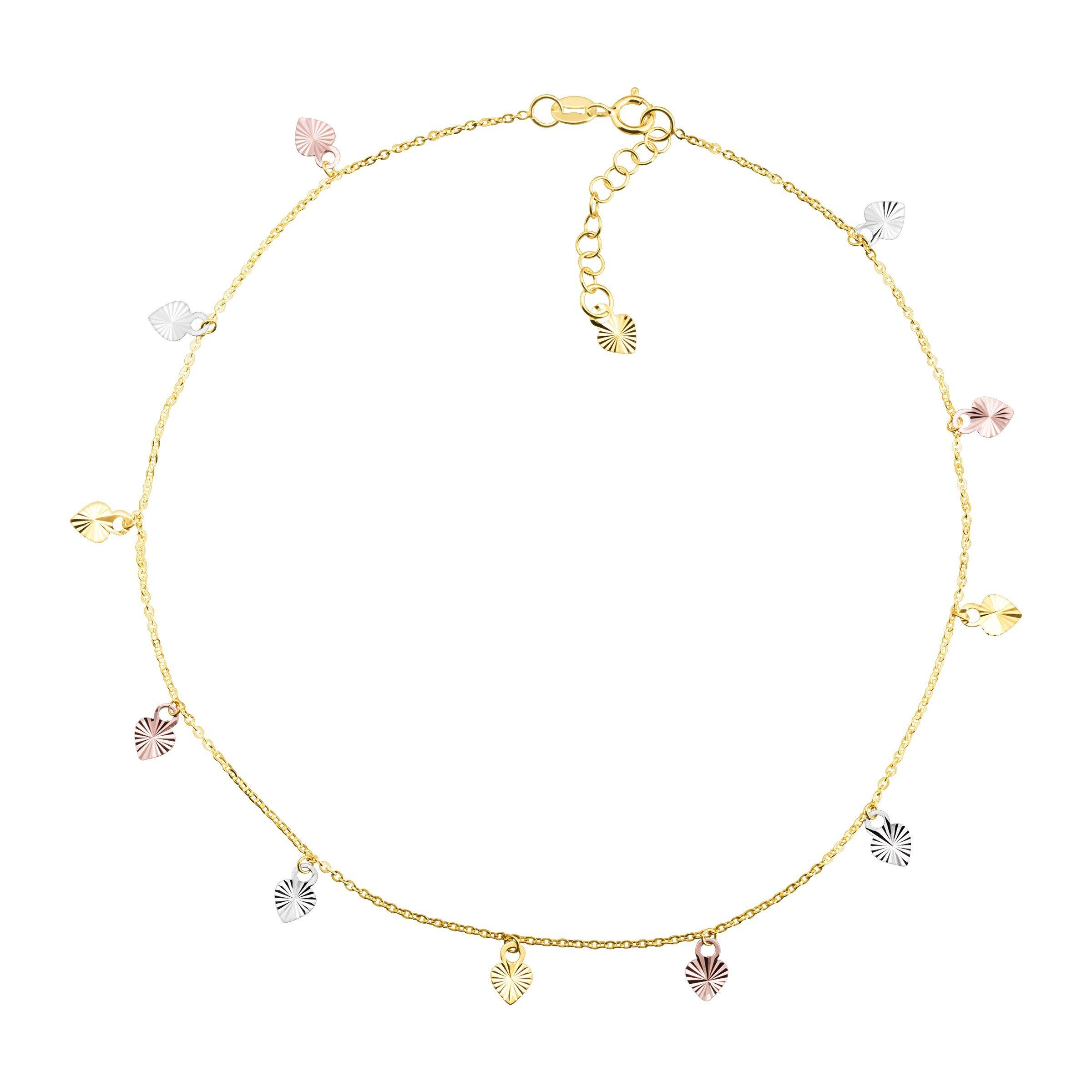 Eternity Gold Heart Charm Anklet Bracelet in 10K Three-Tone Gold