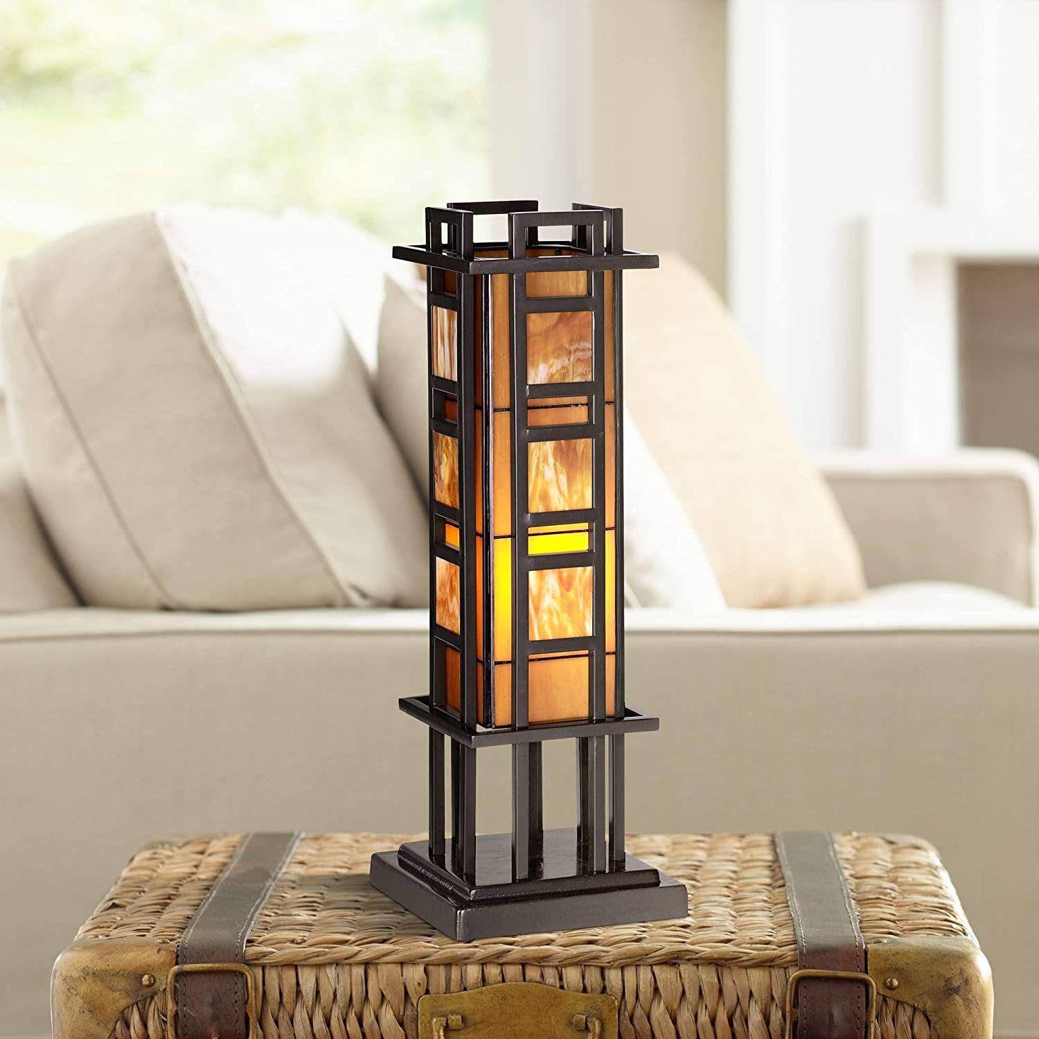 Prairie Mission Accent Table Lamp Bronze Iron Column Amber Stained Glass for Living Room Family Bedroom Office