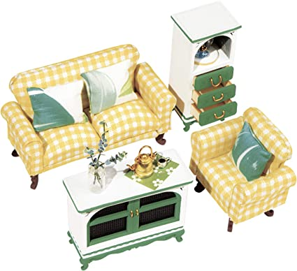 Dollhouse Furniture Living Room Set Table and Chair dolls