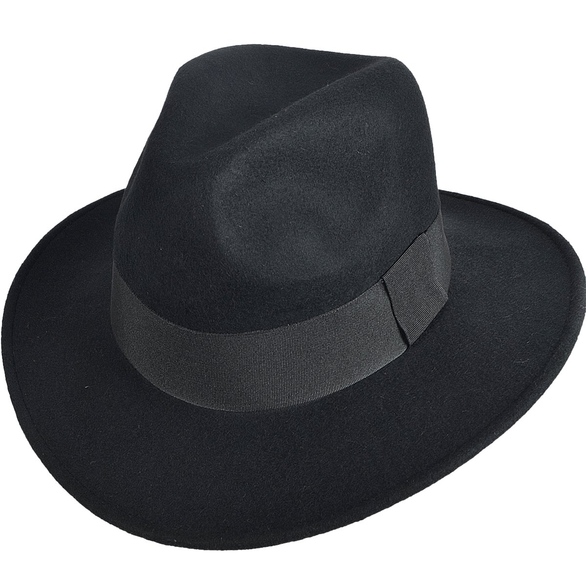4f58aa122 FORBUSITE Wool Felt Wide Brim Fedora Hats for Women Men