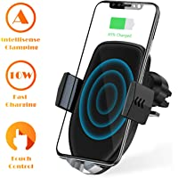 U-ROK Wireless Car Charger Mount, Auto Clamping 7.5W /10W Qi Fast Charging Car Phone Holder, Windshield Dashboard Air Vent Kit Compatible with iPhone Xs/Xs Max/XR/X/8/8 Plus, Samsung Galaxy S10/S9/S8/Note