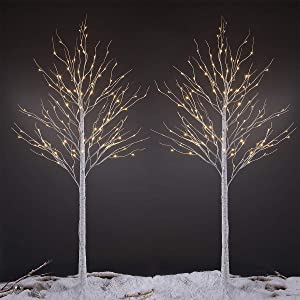 LIGHTSHARE 8 Feet Birch Tree, 132 LED Lights, Warm White, for Home,Set of 2, Festival, Party, and Christmas Decoration, Indoor and Outdoor Use
