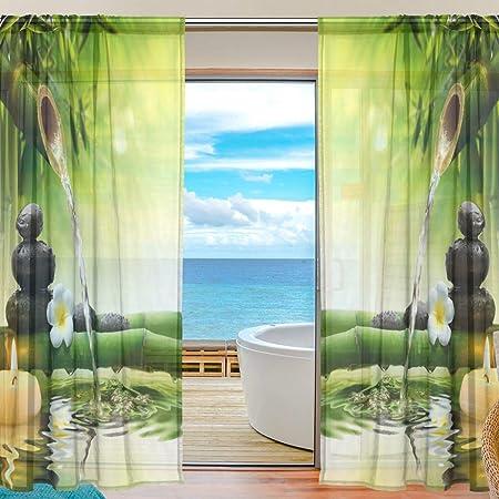 Vinlin Rideau de fenêtre en Bambou Motif Fleurs japonaises Zen Pierre de  Bambou Traitement de fenêtre pour Chambre à Coucher, Salon, 2 Panneaux  137,2 ...