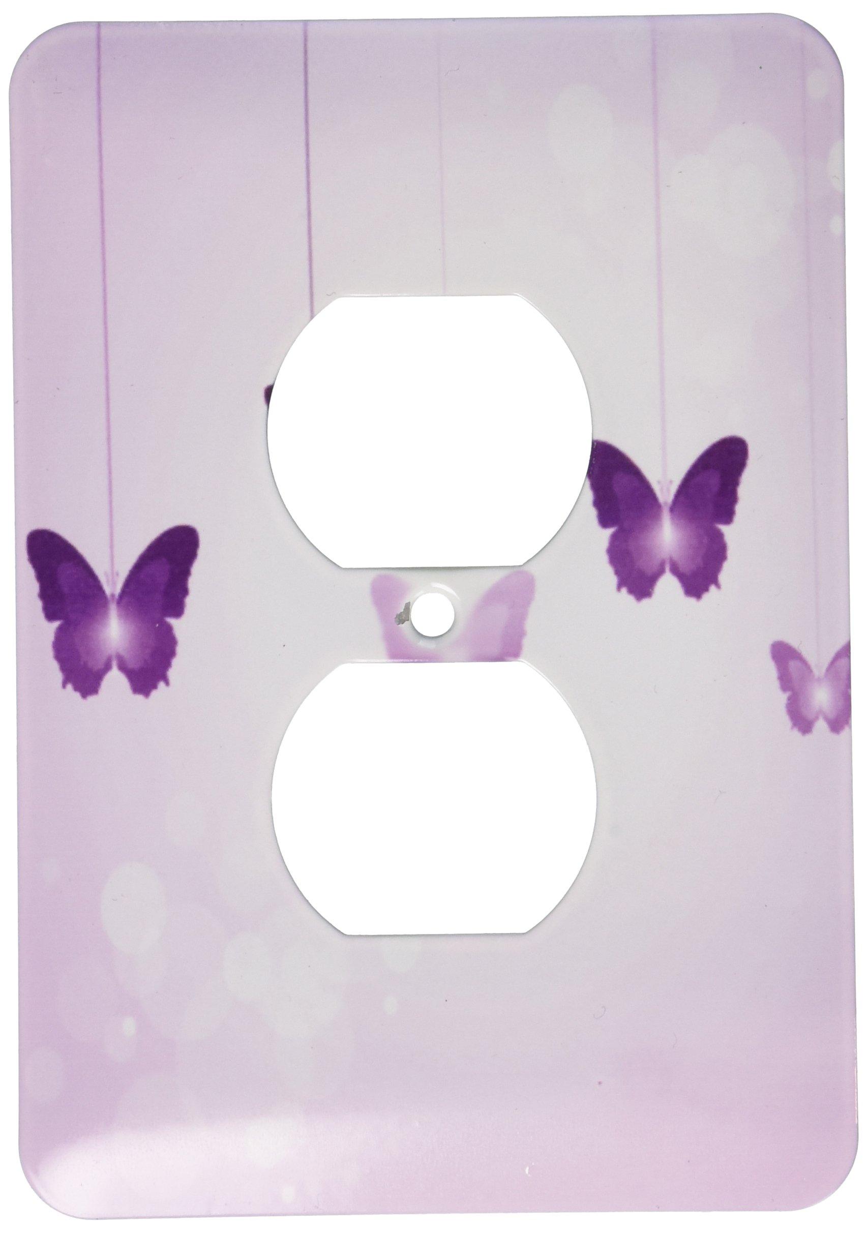 3dRose lsp_78670_6 Cute Dark And Light Purple Dangling Butterflies - 2 Plug Outlet Cover