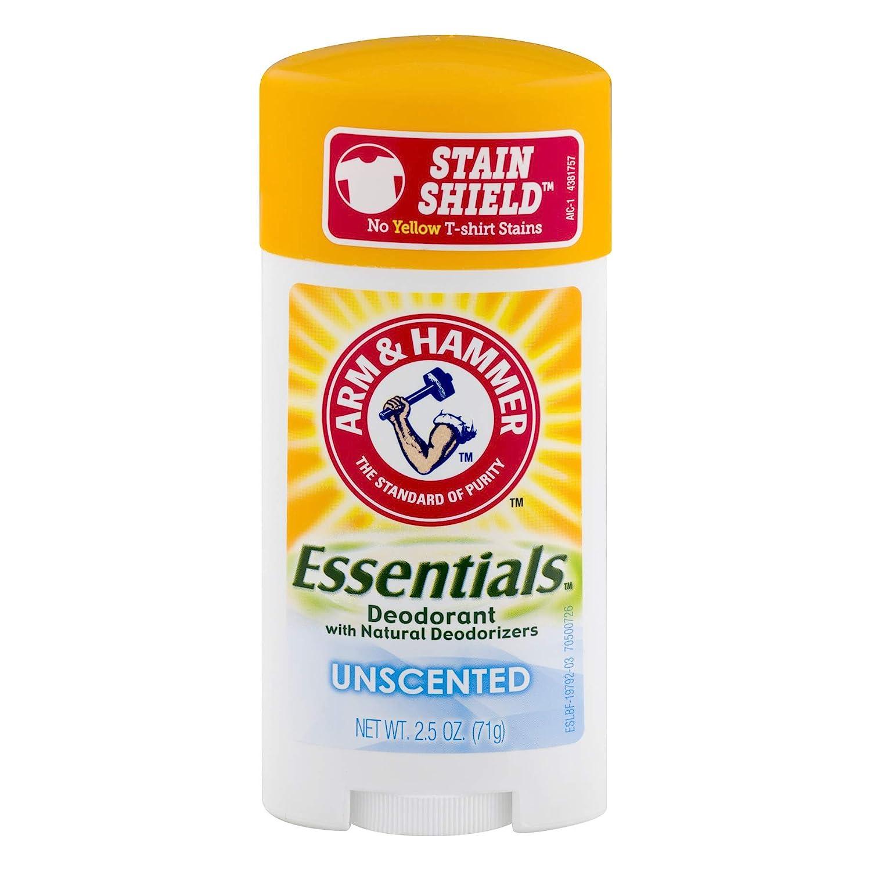 Arm & Hammer Essentials Natural Deodorant, Unscented 2.5 oz (Pack of 5)