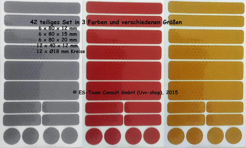 silber gelb reflektierende Aufkleber Kinderwagen Buggy 42 Reflex Sticker rot