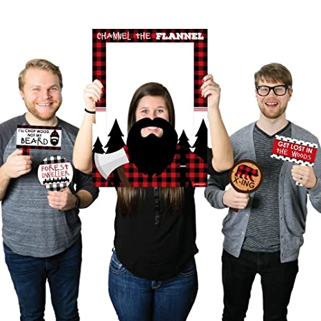 d2a563d27b Amazon.com: Lumberjack - Channel The Flannel - Buffalo Plaid Party Selfie  Photo Booth Picture Frame & Props - Printed on Sturdy Material: Kitchen &  Dining