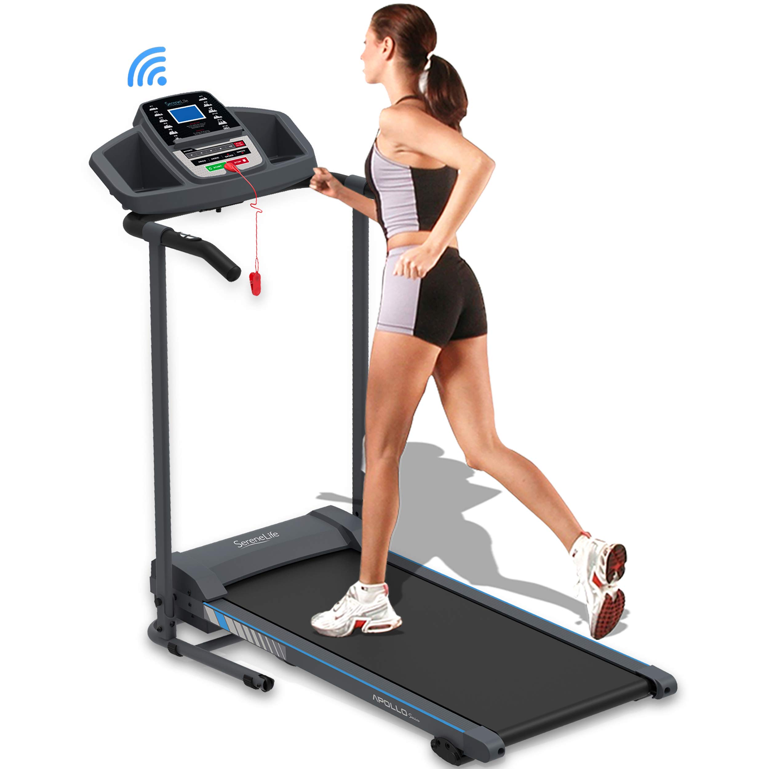 SereneLife Smart Electric Folding Treadmill – Easy Assembly Fitness Motorized Running Jogging Exercise Machine with…