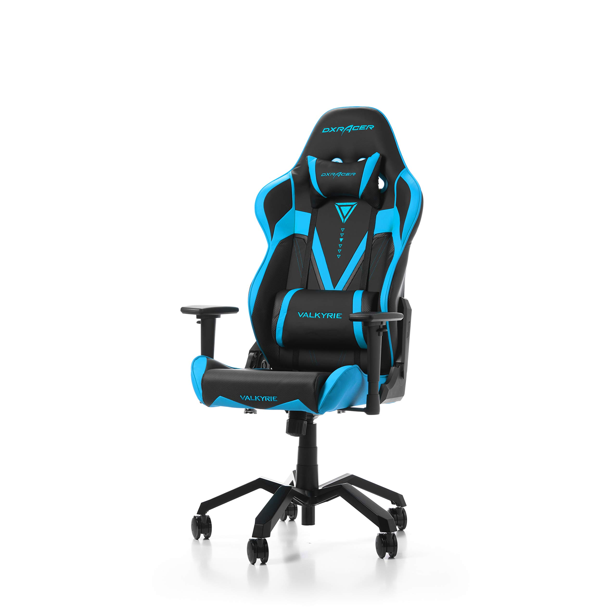 DXRacer Valkyrie Series VB03 Racing Seat Office Chair Gaming Ergonomic Adjustable Computer Chair with - Included Head and Lumbar Support Pillows (Black/Blue) by DXRacer
