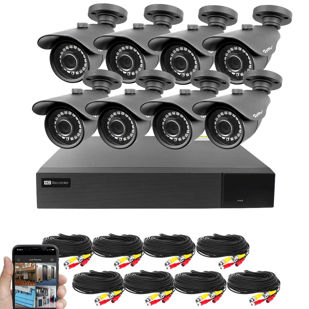 Best Vision 16CH 4-in-1 HD DVR Security Camera System (1TB HDD), 8pcs 1080P High Definition Outdoor Cameras with Night Vision - DIY Kit, App for Smartphone Remote Monitoring by Best Vision Systems