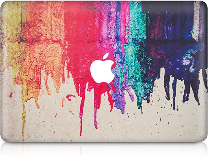 "kwmobile Decal Compatible with Apple MacBook Air 13"" (2011-Mid 2018) - Laptop Skin Decal Cover Sticker - Dripping Rainbow Paint Multicolor/Red/Beige"