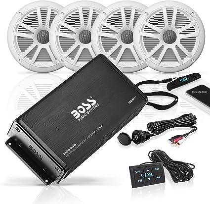 BOSS Audio ASK902B.6 Marine 500 Watt 4 Channel Amplifier // 6.5 Inch Speaker Bluetooth System Waterproof Pouch USB Auxiliary Interface Mount Bluetooth Remote