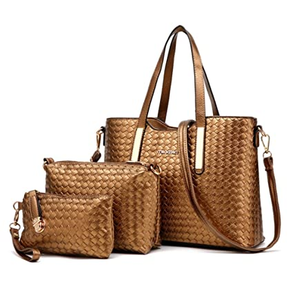 Buy XIN BARLEY Women Pu Leather Weave Handbag Purse Bag Set 3 Pieces Tote  Bag Set Shoulder Bags Big Capacity Gold Online at Low Prices in India -  Amazon.in 87cd5d1f88d4f