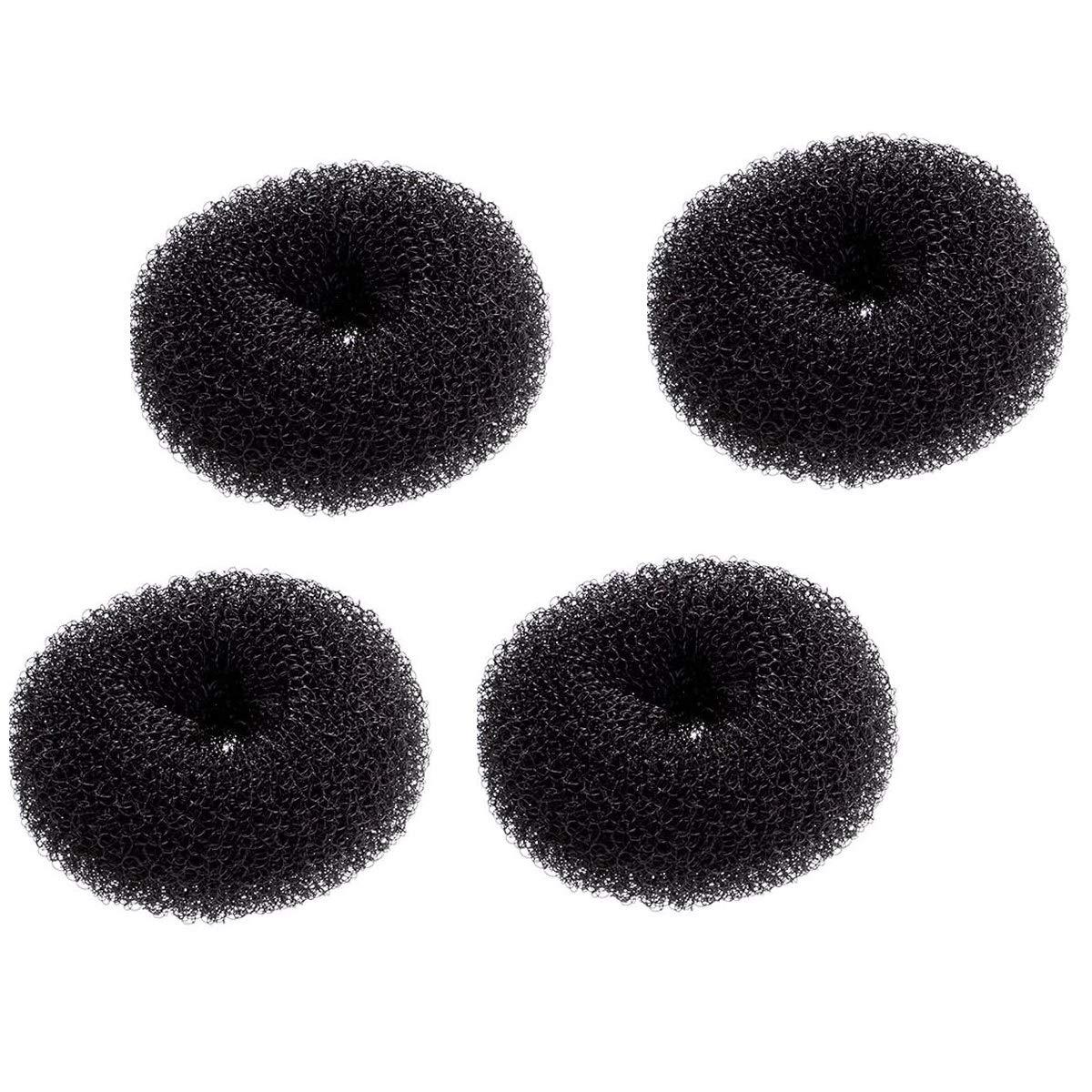 4 Pack Extra Small Hair Bun Maker Mini Chignon Hair Doughnut Shaper Hair Donut Sock Bun Form for Kids, Girls, Short and Thin Hair (Small Size 2.4 Inch, Black)