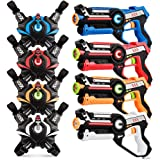 kidpal Infrared Laser Tag, Upgraded Blasters Gun Toys with Vest Infrared Battle Mega Pack Set of 4 Indoor and Outdoor, Group