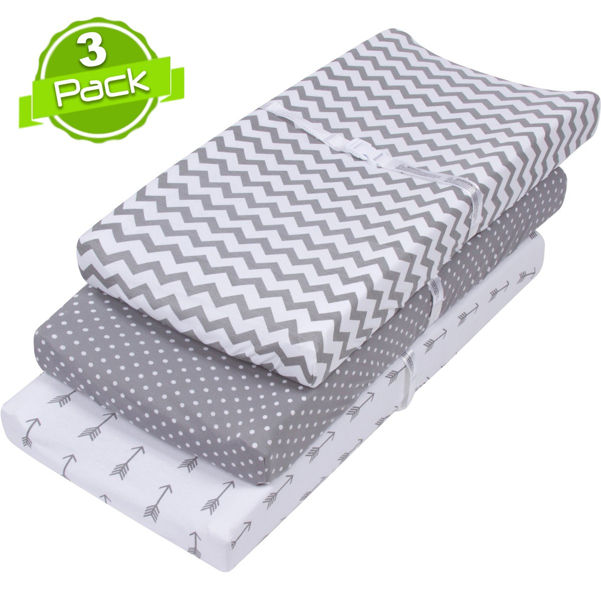 BaeBae Goods 150 GSM Soft Jersey Knit Cotton Changing Pad Cover Set, Grey and White, 3 Pack BaeBae & Company