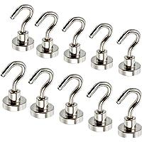 Magnetic Hooks 10 Pack ESYNIC 12LB N52 Neodymium Hold 5.5kg Strong Hooks Magnet D16 16mm Ferrite Magnetic Hooks for Indoor Outdoor Hanging