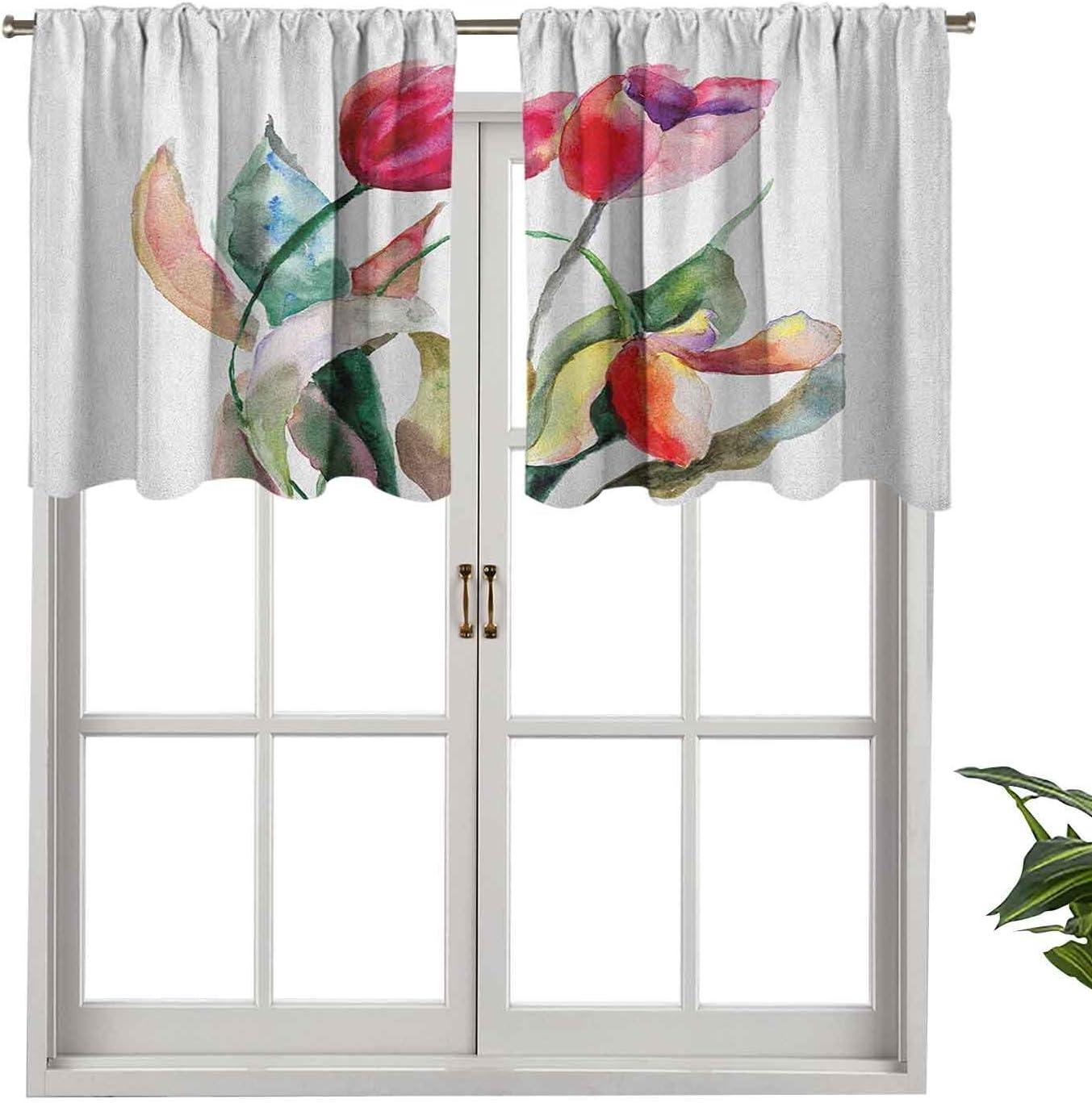 Hiiiman Cenefas de cortina con bolsillo para barra, cortinas de ventana de acuarela, flores de tulipán, ramo de belleza femenina, imagen de primavera, juego de 2, 137 x 91 cm para ventana de cocina