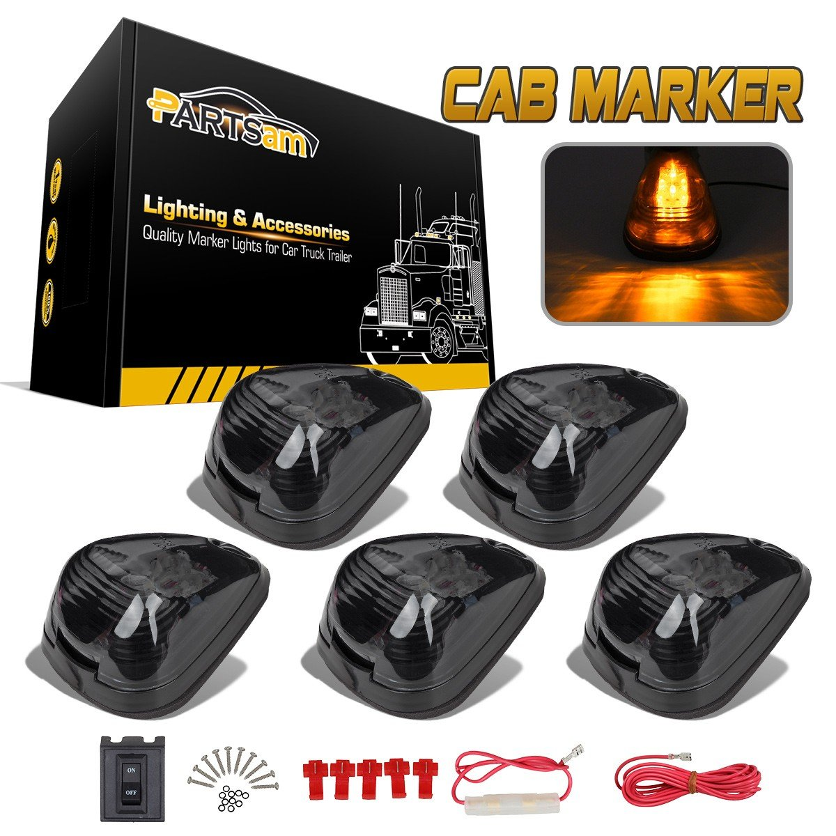 Partsam Smoke Cab Lights Amber Led Clearance Marker 1962 Ford Truck Brake Lamp Wiring Light 15442 Assembly W Pack For 1999 2016 F150 F250 F350 Super Duty Pickup