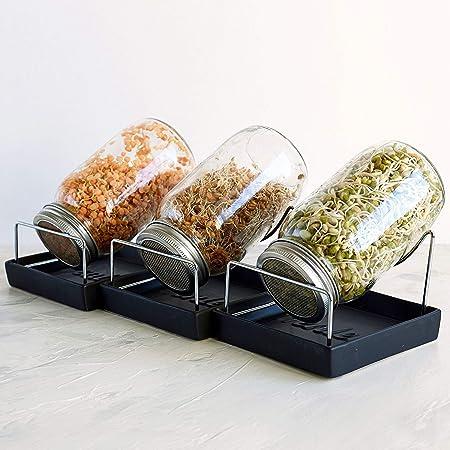 Sprossenglas Keimger/ät mit Deckel St/änder und Halter 2 X Gro/ß Mason Jar f/ür Brokkolisprossen Keimsprossen Samen Keimglas f/ür Sprossen
