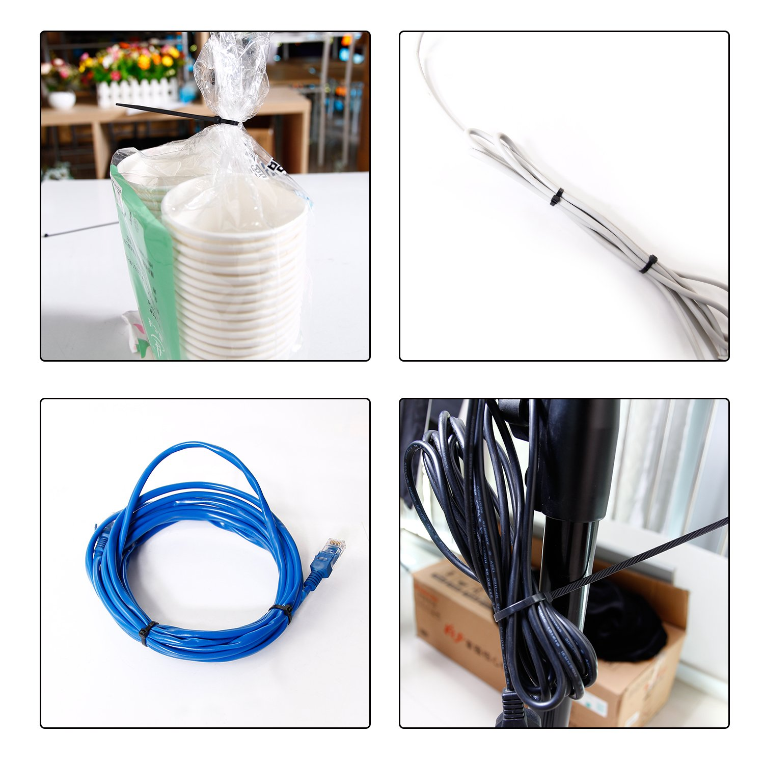 Cable Zip Ties 4''+6''+8''+12'' Self Locking Nylon Cable Wire Tie Black for Home Office Garden Garage, Workshop by PAMAGOO (Image #4)