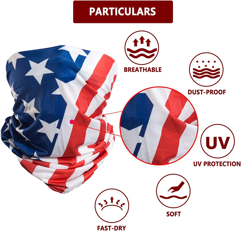 Lot de 5 USA Neck Gaiter UV Vent Soleil Drapeau Américain Lavable Extensible Free ship!
