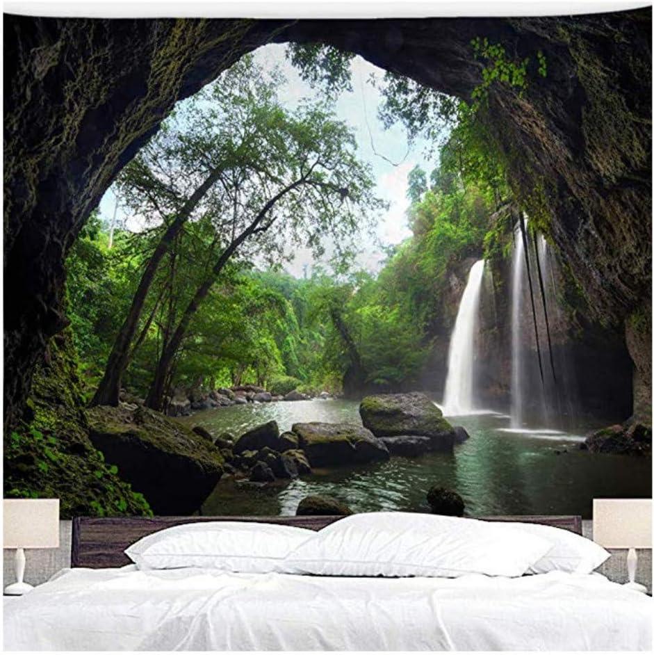 Yzrh Monta/ña Cueva Naturaleza Tapiz Colgante De Pared Bosque /Árbol Tapices Cascada Tapiz para El Dormitorio Dormitorio Decoraci/ón 230X150cm
