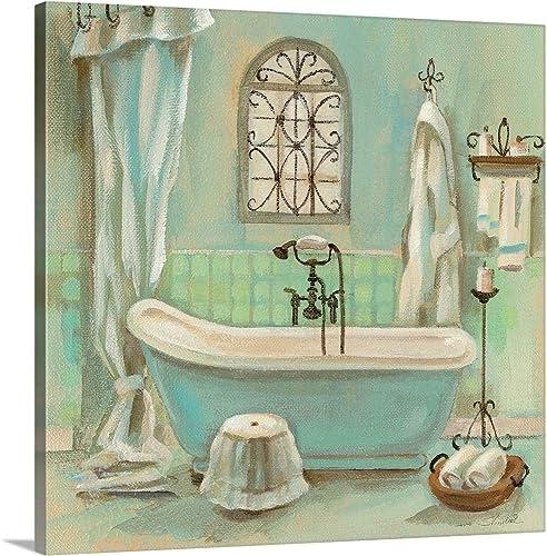 Glass Tile Bath I Canvas Wall Art Print