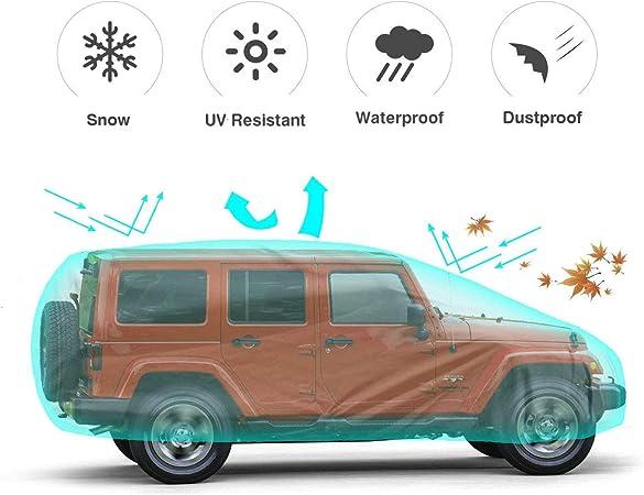 Auto Abdeckung Ice,Frost,Silver 2019-2020 Schnee 100/% Wasserdicht Abdeckplane Auto F/üR Jeep Wrangler Cj,Yj Tj Jk 4 T/üR//Suv Autoplane Autogarage Jeep Autoabdeckplane Schutzh/üLle Gegen Uv
