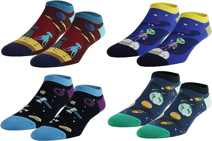 Happypop - Calcetines para hombre, diseño de camuflaje de algodón, Hombre, A180111SC-4 Pack-SPACE, 4 Pairs-space Ankle Socks, Medium: Amazon.es: Deportes y aire libre