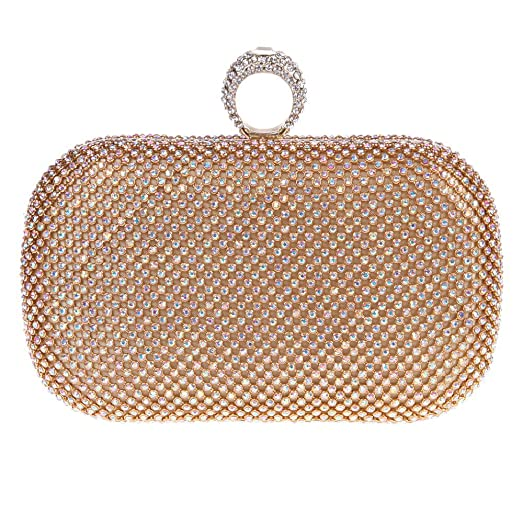 Bonjanvye Studded Round Bag for Womens with Crystal Rhinestone Clutch Handbag Multicolor IZNO4rPz