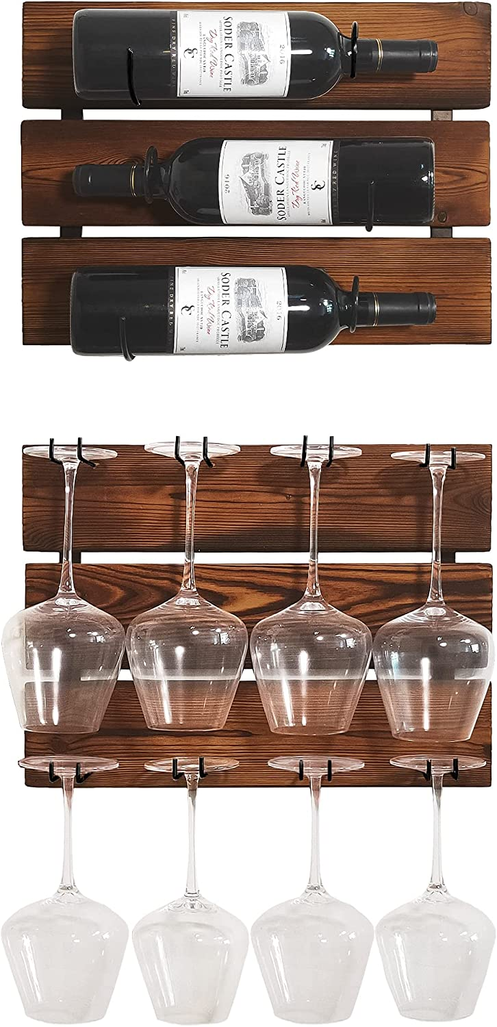 Wall Mounted Wine Racks, Hanging Wood Wine Rack, Holds 3 Wine Bottles and 8 Stemware Glass Holder, Home & Kitchen Décor, Storage Rack, Rustic Brown