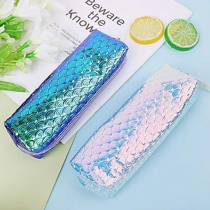Chris.W - Estuche holográfico para lápices de sirena, bolsa de maquillaje, estuche para lápices de escamas de pescado para decoraciones de fiesta de sirena (azul/ciano): Amazon.es: Oficina y papelería
