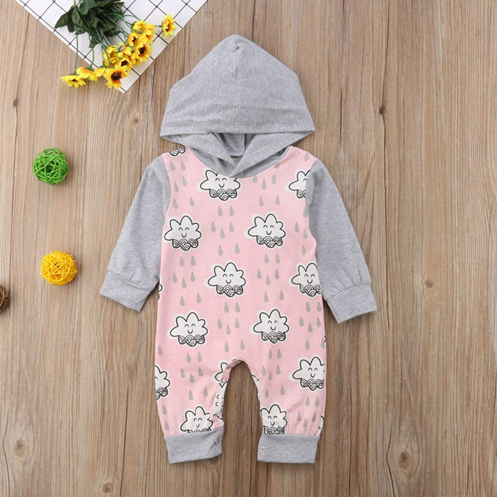 d76aae2a65e Anyozu Cute Newborn Baby Girls Hooded Romper Jumpsuit Infant Long Sleeve  Smile Clould Outfits Clothes 0-24 Months  Clothing