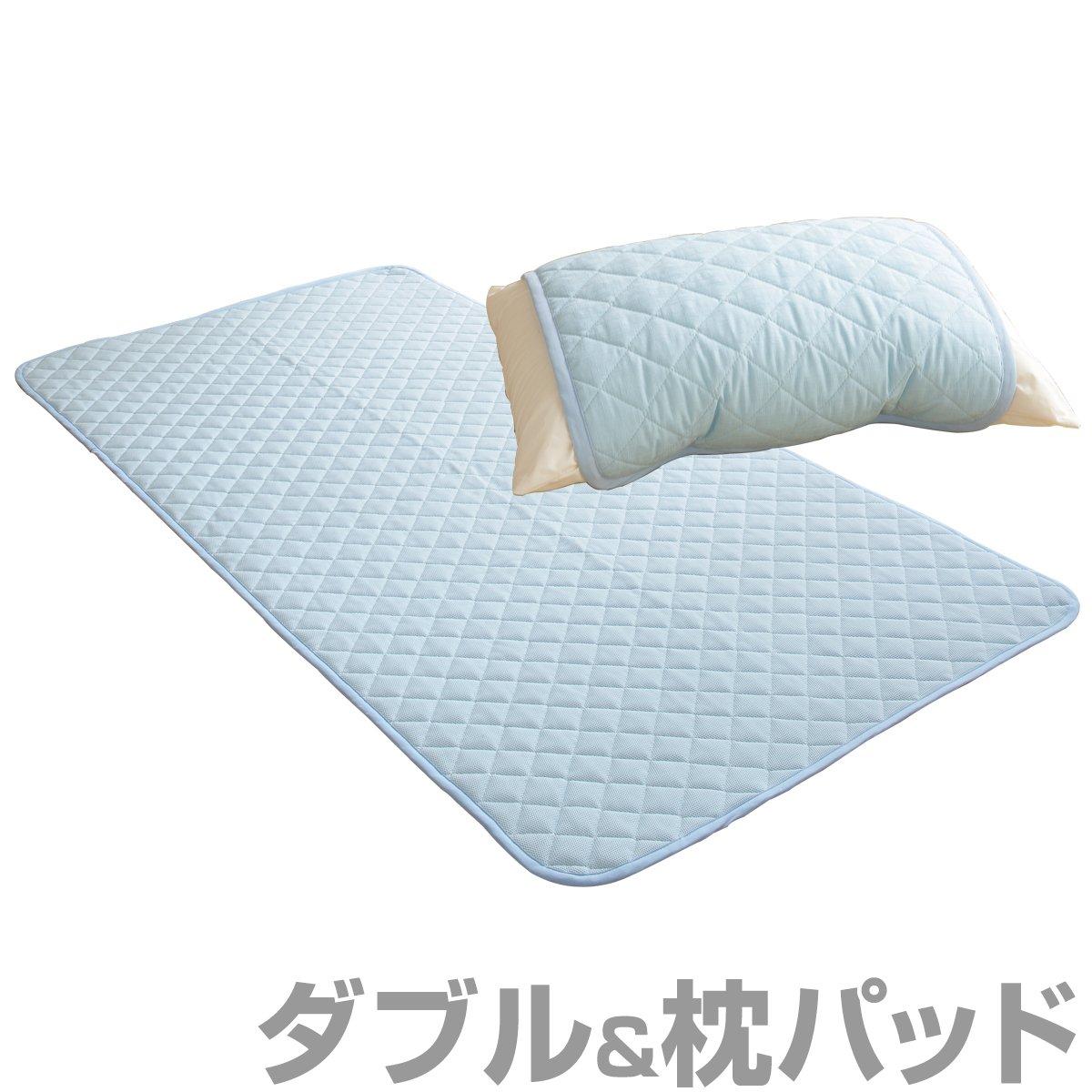 トクナガ クールレイ®敷パッド+枕パッドセット 国産 ダブル ブルー CRAMPS-3BL B01HT88S5E ブルー