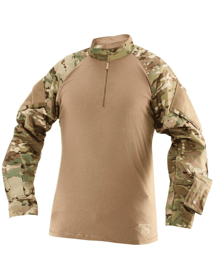Tru-Spec 1/4 Zip Tactical Response Combat Shirt 65/35 Polyester/Cotton Rip-Stop, MultiCam/Coyote,